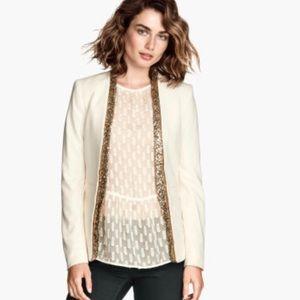 H&M white blazer with gold sequins EUC
